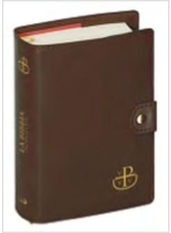CUSTODIA BIBBIA BOTTONE MARRONE CM. 16 X 23