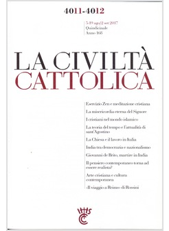 LA CIVILTA' CATTOLICA 4011-4012  5-19AGO/2SET 2017
